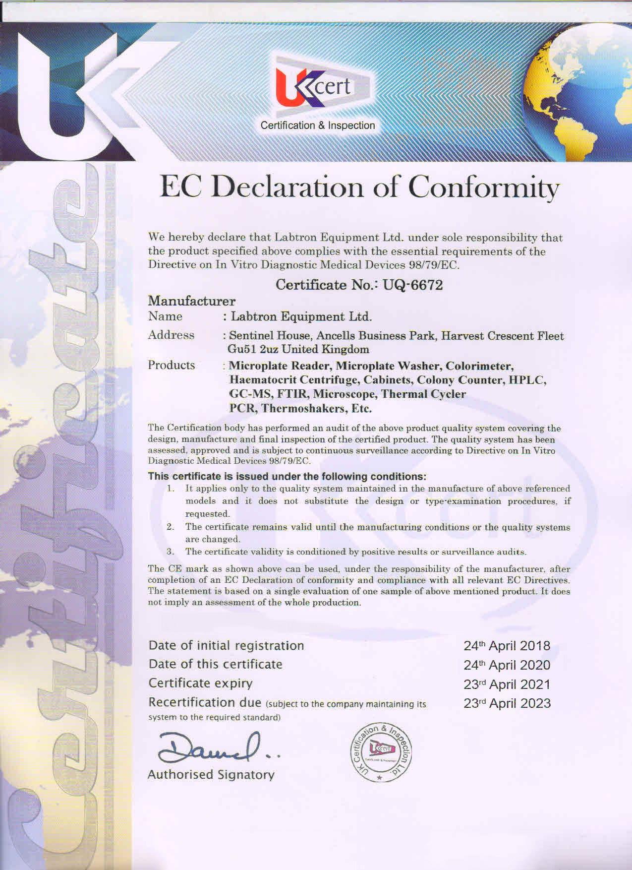 Labtron Equipment Ltd. EC Declaration of Conformity : Labtron Certification