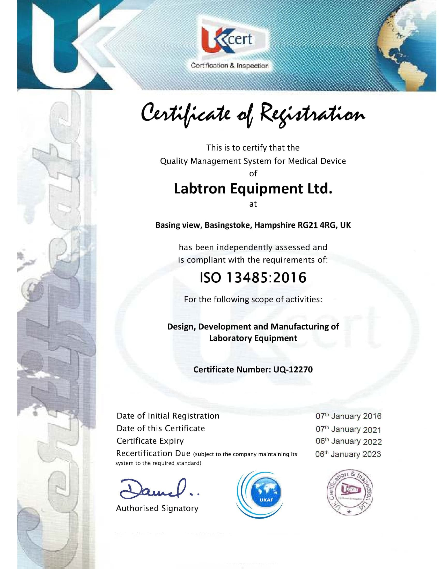 Labtron Equipment Ltd. GMP ISO 13485 UKCert : Labtron Certification